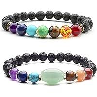 JOVIVI Schmuck Set ,2er 7 Chakra Healing Buddha-Armband Perlen-Armband Steinperlen Geflochtenes Lava Armband Mala... preisvergleich bei billige-tabletten.eu
