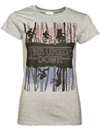 Womens Grey Stranger Things Inspired Upside Down T Shirt