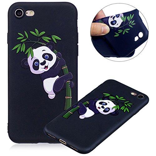 Cover iPhone 7, Custodia iPhone 7, Case in Silicone Nero Morbido TPU, Surakey Protettiva Bumper Back Cover Gomma Soft Sottile e Flessibile Custodia Gel Rubber Leggero Antiscivolo Antiurto Protezione P Piccolo Panda