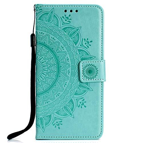 Lomogo Galaxy A50 Hülle Leder, Schutzhülle Brieftasche mit Kartenfach Klappbar Magnetverschluss Stoßfest Handyhülle Case für Samsung Galaxy A50 - LOHHA080153 Grün