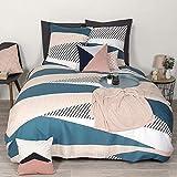 Côté Déco Parure de lit avec Housse de Couette géométrique Rose et Bleu en Microfibre 240x220 cm