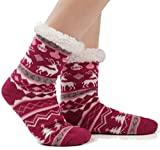 JARSEEN Donna Calze a pantofola ultra morbidi caldo termici Calzini invernali Natale Calze con Suola Antiscivolo (Cervo Rosso, EU 36-42)