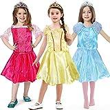 Tacobear Vestido Princesa Niña Princesa Cenicienta Bella Aurora Disfraz y Princesa Accesorios Tiara Princesa Niña para Halloween Cosplay Fiesta