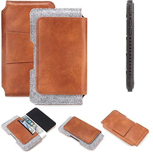 K-S-Trade für Cyrus CS 35 Gürteltasche Schutz Hülle Gürtel Tasche Schutzhülle Handy Smartphone Tasche Handyhülle PU + Filz, braun (1x)