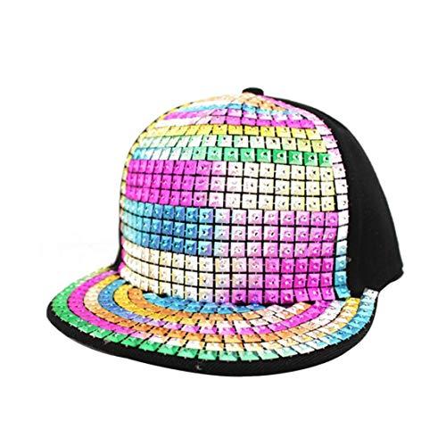 Imagen de unisex brillante de lentejuelas reflectante  de béisbol de los remaches del casquillo del snapback caps hip hop para niños niñas
