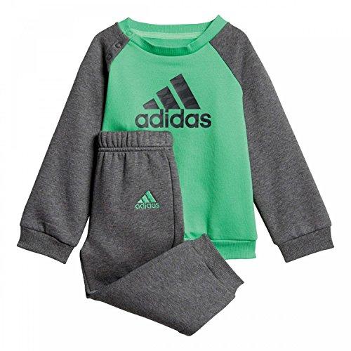 adidas Baby Logo Jogger Fleece Trainingsanzug, Energy Green/Dark Heather/Grey Five, 68