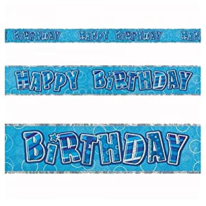Gifts 4 All Occasions Limited SHATCHI-120 - Pancarta de papel de aluminio para decoración de cumpleaños, 3,65 m, color azul