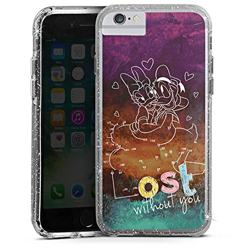 Apple iPhone 7 Plus Bumper Hülle Bumper Case Glitzer Hülle Disney Daisy und Donald Duck Merchandising Pour Supporters Bumper Case Glitzer silber