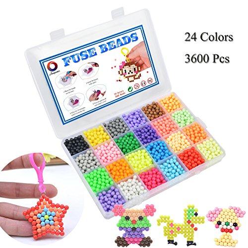 Abalorios Cuentas de Agua 3600 Perlas 24 Colors Juego de Bolas de fusibles de Agua Cuentas de Repuesto Mega Bolas Juguetes educativos para Niños Paquete de Actividades para Principiantes