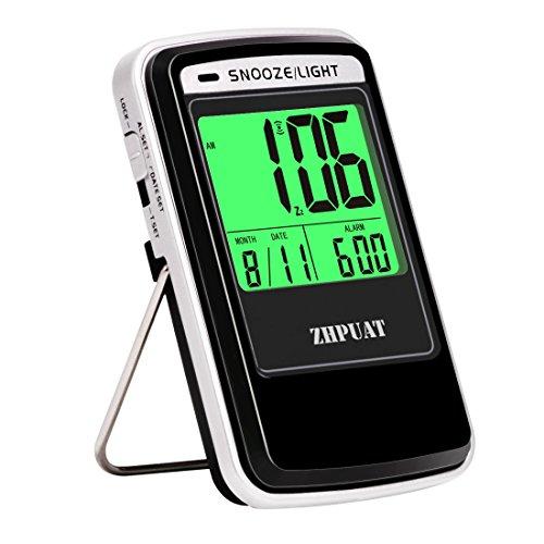 ZHPUAT Wecker Digital Reisewecker mit automatischer Hintergrundbeleuchtung und Schlummerfunktion, Datum und Weckzeiten, Batteriebetrieben, Schwarz