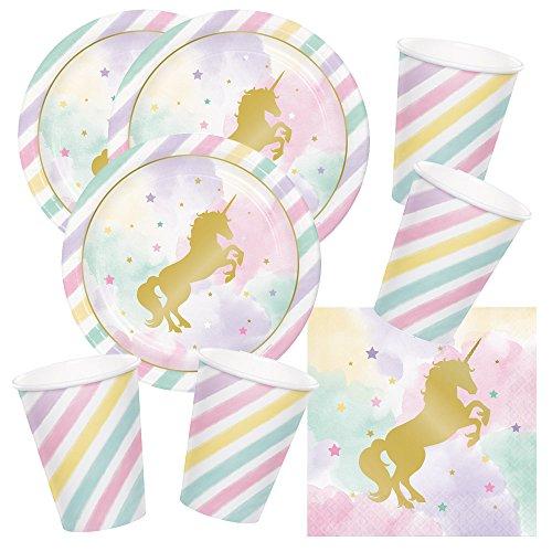 t goldenes Einhorn - Unicorn sparkle - Teller Becher Servietten für 16 Kinder ()