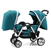 Xiao ping Twin Stroller, Reclining Folding Stroller, 0-4 Years Old (Color : Blue)