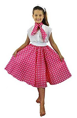 Rock And Roll Danse Costumes Pour Enfants - Jupe longue rose à pois blancs pour