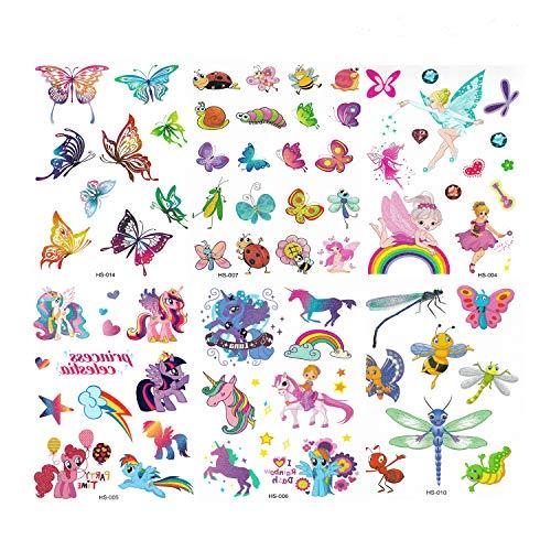 Ucradle tatuaggi temporanei per bambini, 6 foglio falso tatuaggio tattoos adesivi per bambini festa di compleanno sacchetti regalo giocattolo, animale, unicorno,fata