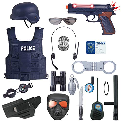 Kostüm Set Polizist Kind - LVPY Polizei Kostüm Set, 18er Set Polizei Kostüm Kinder Dress Up Polizist Kinder Kostüm Pretend Play Spielzeug für Swat, Detective, Halloween