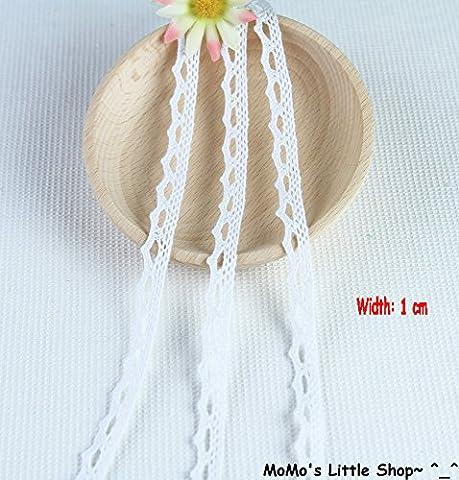 Pretty Vintage Style Scallop/Picot/Zig-Zag Edge 100% Cotton Crochet Lace Trim (Width: 1 cm; 4 Colours: White/Black/Natural/Pink) — 5 Metres