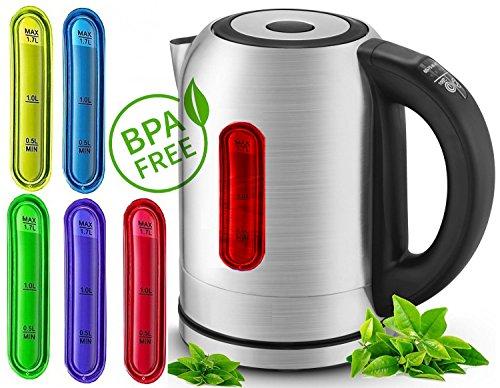 1,7 Liter Wasserkocher mit Temperatur Wahl Edelstahl und LED Innebeleuchtung (Farbwechsel je nach Temperatur) 2.200 Watt
