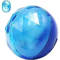 Svpro Altavoces inalámbricos Bluetooth Altavoz portátil Crystal LED Flash Color Luz de la Noche Lámpara Alta definición Sonido estéreo Llamadas Manos Libres para teléfonos iOS y Android (B, Azul)