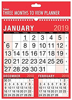 2019 Three Month To View Spiral Bound Wall Planner Calendar - home office work : everything five pounds (or less!)