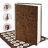 Logbuch-Verlag - Set con ricettario da scrivere a piacere, formato DIN A4, motivo francobolli, con 24 adesivi da cucina, marrone