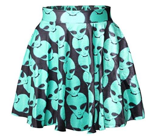 Women Girls Casual High Waist Stretch Waist Flared Pleated Mini Skirt (Kostüm Party Ghost Stadt)