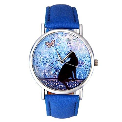 Vovotrade porcelana Gato patrón mariposa de cuero correa analógica reloj de pulsera de cuarzo (Azul)