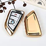#7: Car Styling Soft TPU Car Key Cover Fit for BMW Blade 3 4 Buttons Smart Key (Golden)