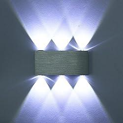 Unimall Moderno Aplique de Pared Iluminación de Bañador de Pared 6 LED 6W Lámpara en Moda de Puro Aluminio Luz Emitida por Superior e Inferior para Dormitorio Salón Pasillo Bombillas Incluídas (Blanco Frío)