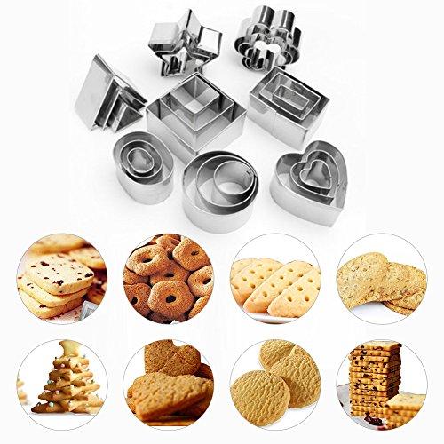 Edelstahl-Formen für Kekse, Backform, Käse, Mousse, Kuchen, Fondant-Schneider, edelstahl, silber, Style_A - Maker Cookie Kids Für
