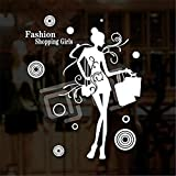 Pegatinas de pared Tienda de ropa calcomanía de pared de vinilo fashion shopping girl quote mural art pegatinas de pared tienda de ropa ventana pegatina de vidrio decoración 56x69cm