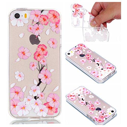 iPhone 5S Hülle, iPhone SE Schutzhülle, MSK Taschen Schalen Flexible TPU Weiche Rückwärtige Schutzhülle Case Für iPhone 5S & iPhone SE - elegant #B elegant #A