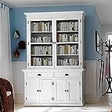 Pharao24 Bücherschrank in Weiß Landhaus Mahagoni Massivholz