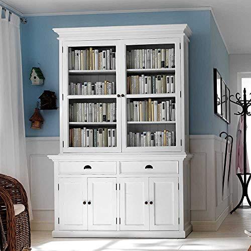 Pharao24 Bücherschrank in Weiß Landhaus Mahagoni Massivholz -