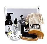 MBUKO Bartpflege Set DELUXE | Bartöl - Bartwachs - Bartseife - Bartbürste & Kamm | Mit Geschenkbox