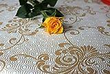 Motif géométrique, motif élégant, de luxe, de qualité supérieure, or, en relief, Nappe en toile cirée, facile à nettoyer, vinyle, PVC, 140x 200cm.