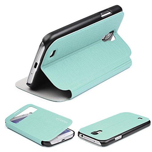 Urcover® View Hülle kompatibel mit Samsung Galaxy S4, Wallet mit [ Standfunktion ] Schutzhülle Case Cover Etui Ständer Aufsteller Handyhülle Türkis (Samsung S4 Entsperrtes Galaxy)
