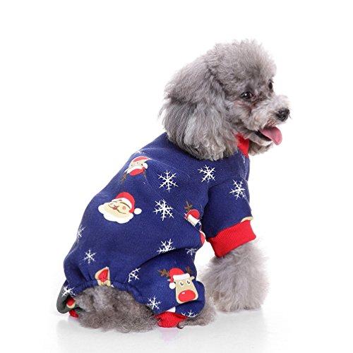 selmai Xmas Puppy Fleece Schlafanzüge, PET Winter Overall Warm Soft Pullover für kleine Hunde Katze Cozy Mädchen Weihnachten Kostüm Kleidung Bekleidung