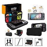 ORZLY® Pack Esencial de Accesorios para Nintendo Switch [Incluye: Protectores de Pantalla, Cable USB, Funda para Consola, Estuche Tarjetas...