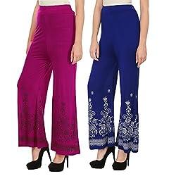 Haniya Free Size Combo of Printed Viscose Palazzos for Women (Blue & Magenta)