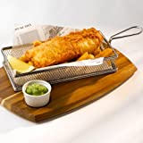 CookSpace ® 18/8 Commercial Grade Stainless Steel Fine Mesh Basket, Rectangular Fryer Serving Basket 26 x 13 x 4.5cm | Fish & Chip Basket, + FREE 50 Sheets of Greaseproof Paper 20 x 20cm ¦ Ideal for Chips, Fries, Shrimps, Onion Rings, Wedges & Food Presentation Basket * Catering quality *