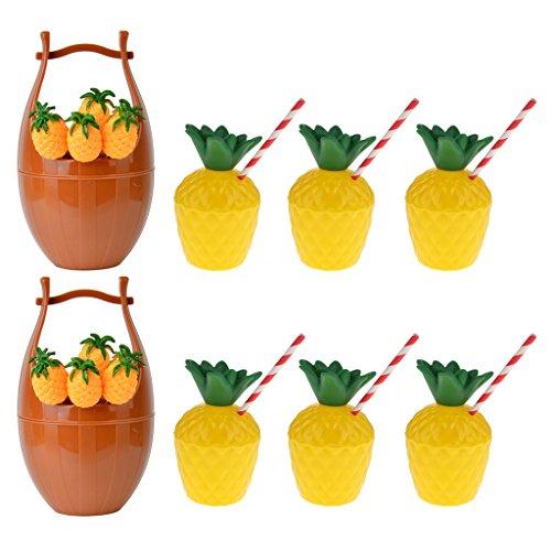 (Blesiya 2 Satz Frucht Gabel Kasten Halter + 6pcs Ananas Getränk Tasse Luau Strand Party Dekor)