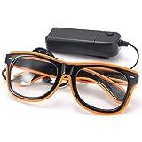 SOLMORE EL Wire Drahtbrille Leuchten Brille LED Leucht Sonnenbrille Partybrille mit Batterie Box Orange 1