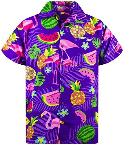 Funky Camisa Hawaiana, Manga Corta, Flamingo Melon, Violeta, L