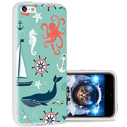 iPhone 5C Fall, iPhone 5C Fall Cute, chichic Full Cool Schutz Stilvolle Hülle Slim Soft TPU Hüllen für iPhone 5C, langlebig, geometrische Schwarz Mandala gelb Holzmaserung, navy anchor whale sea horse octopus