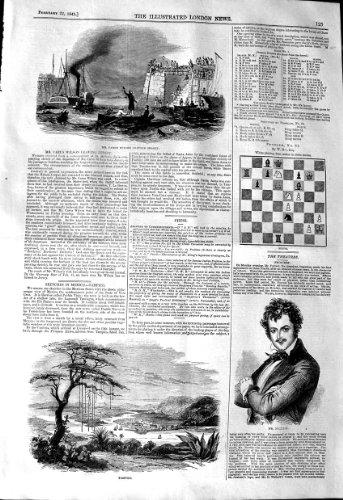 1845 BATEAUX DE M. FORREST CARUS WILSON JERSEY DE TAMPICO DE VUE par original old antique victorian print