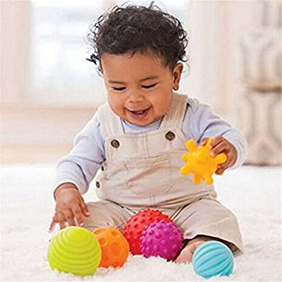 Lalang 4pcs Baby-Hand fangen Massage Ball mit Sound Effect Kinder Frühe Bildungs Spielzeug