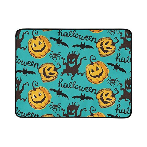 EIJODNL Halloween Endless Texture Can Portable and Foldable Blanket Mat 60x78 Inch Handy Mat for Camping Picnic Beach Indoor Outdoor Travel (Art Black Halloween Cat Clip)