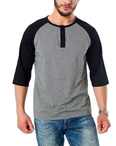 AIYINO Herren Casual Baseball Langarmshirt 100% Baumwolle Henley T-Shirt XXL Schwarz (Baseball Tee Sleeve Herren 3/4)