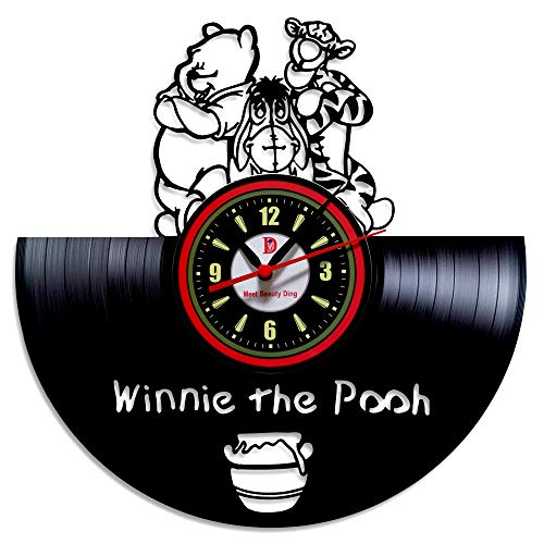 Meet Beauty Ding Schön Winne The Pooh Disney Anime Vinyl Record Wanduhr kreative Kinderzimmer Kunst Dekor - einzigartige handgefertigte Geschenkidee für Jungen Mädchen Halloween Weihnachten