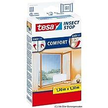 tesa Insect Stop COMFORT Fliegengitter für Fenster / Insektenschutz mit selbstklebendem Klettband in Weiß / 130 cm x 130 cm